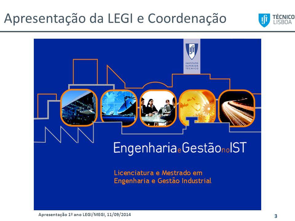 Apresentação da LEGI e Coordenação Apresentação 1º ano LEGI/MEGI, 11/09/2014 3