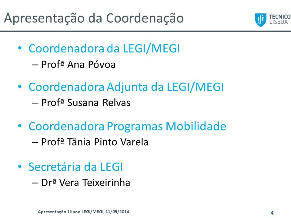 Apresentação da Coordenação Apresentação 1º ano LEGI/MEGI, 11/09/2014 4 Coordenadora da LEGI/MEGI – Profª Ana Póvoa Coordenadora Adjunta da LEGI/MEGI
