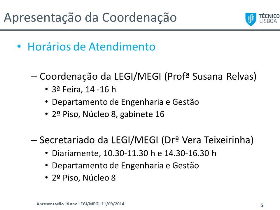 Apresentação da Coordenação Apresentação 1º ano LEGI/MEGI, 11/09/2014 5 Horários de Atendimento – Coordenação da LEGI/MEGI (Profª Susana Relvas) 3ª Fe