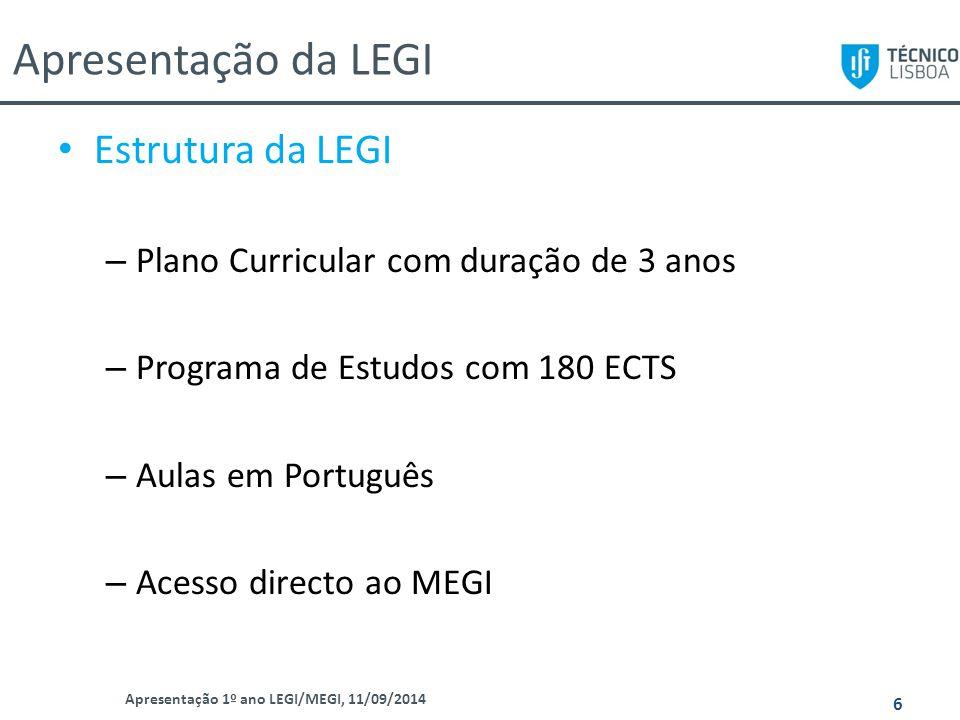 Apresentação da LEGI Apresentação 1º ano LEGI/MEGI, 11/09/2014 6 Estrutura da LEGI – Plano Curricular com duração de 3 anos – Programa de Estudos com