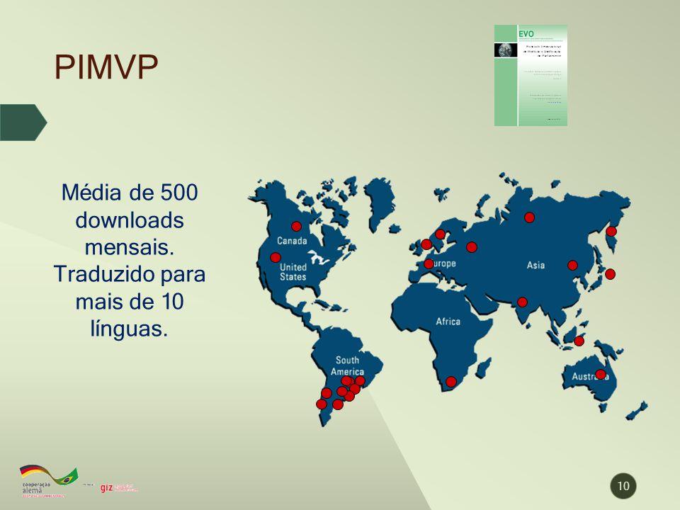 PIMVP 10 Média de 500 downloads mensais. Traduzido para mais de 10 línguas.