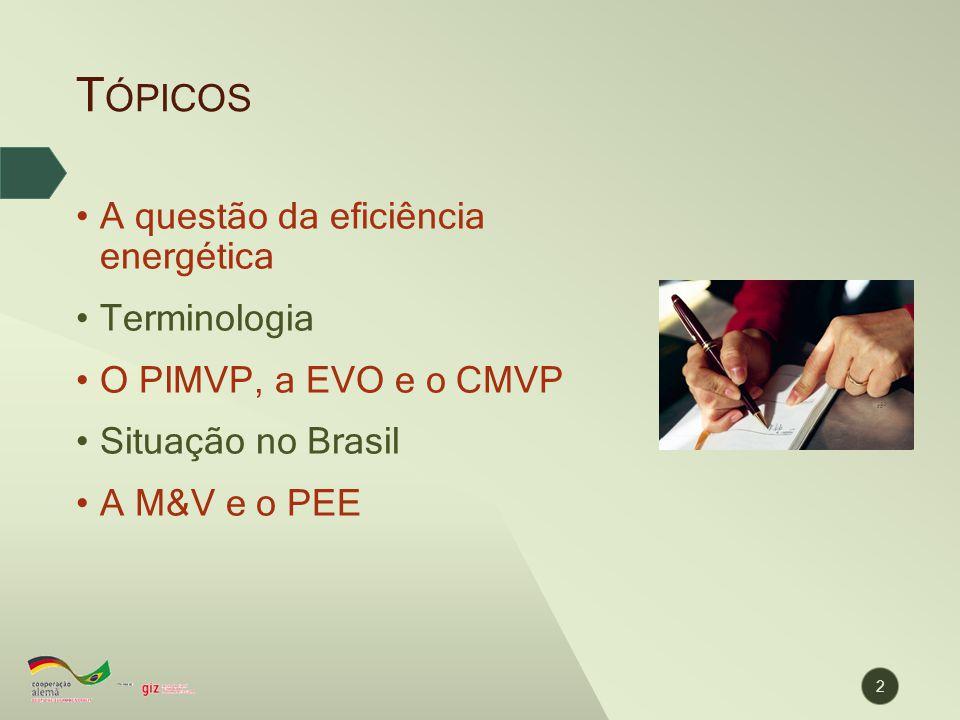 T ÓPICOS A questão da eficiência energética Terminologia O PIMVP, a EVO e o CMVP Situação no Brasil A M&V e o PEE 2