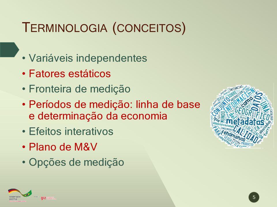 T ERMINOLOGIA ( CONCEITOS ) 5 Variáveis independentes Fatores estáticos Fronteira de medição Períodos de medição: linha de base e determinação da econ