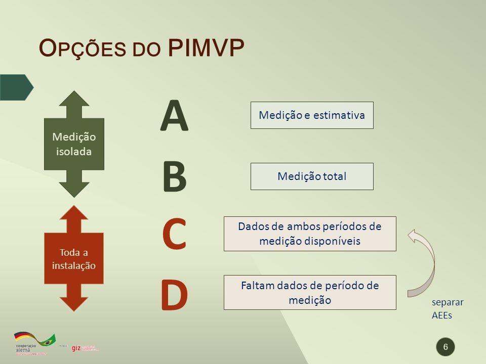 O PÇÕES DO PIMVP A B C D Medição isolada Toda a instalação Medição total Medição e estimativa Dados de ambos períodos de medição disponíveis Faltam da