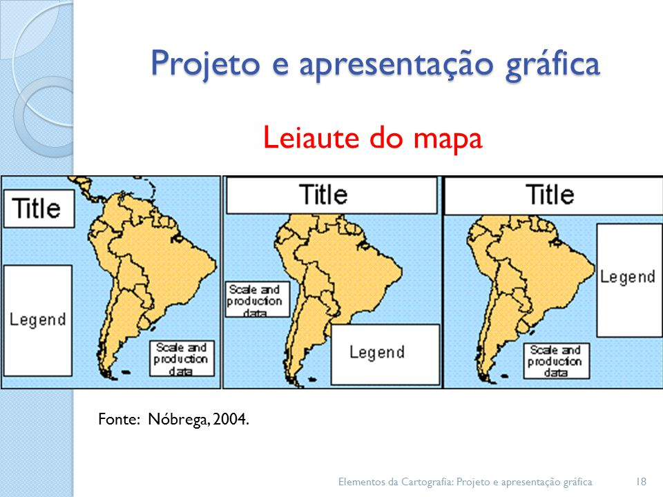 Elementos da Cartografia: Projeto e apresentação gráfica18 Leiaute do mapa Fonte: Nóbrega, 2004.