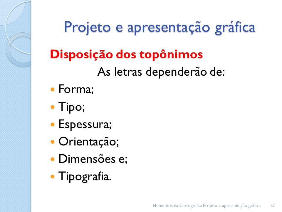 Disposição dos topônimos As letras dependerão de: Forma; Tipo; Espessura; Orientação; Dimensões e; Tipografia.