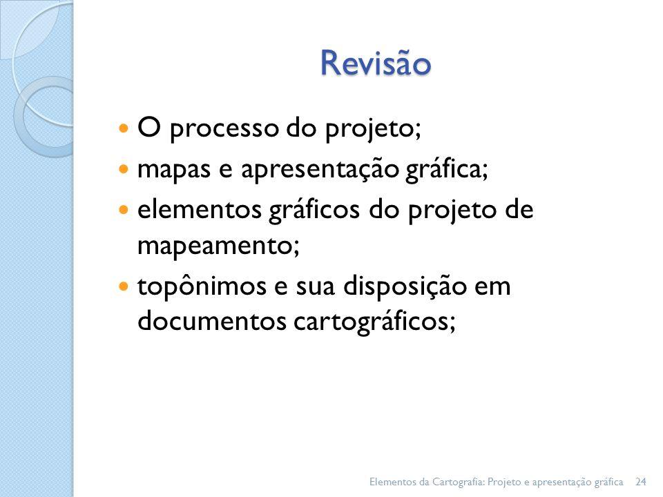 Revisão O processo do projeto; mapas e apresentação gráfica; elementos gráficos do projeto de mapeamento; topônimos e sua disposição em documentos cartográficos; Elementos da Cartografia: Projeto e apresentação gráfica24