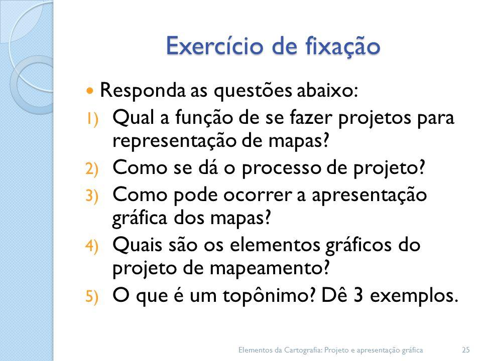 Exercício de fixação Responda as questões abaixo: 1) Qual a função de se fazer projetos para representação de mapas.