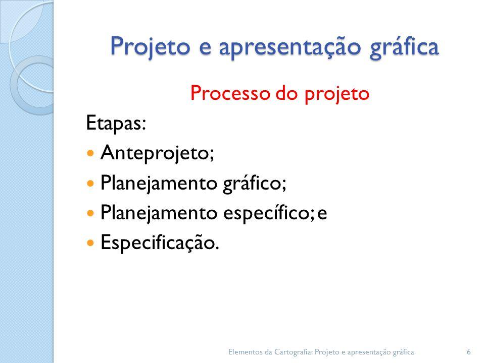 Projeto e apresentação gráfica Processo do projeto Etapas: Anteprojeto; Planejamento gráfico; Planejamento específico; e Especificação.