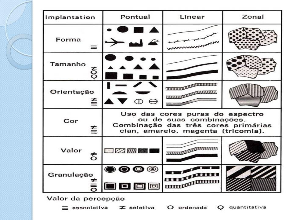 Percepção do complexo gráfico Envolve a atribuição de um significado visual e uma hierarquia de importância a diferentes formas, cores, marcos, símbolos, direção e valores (MENEZES, 2013).