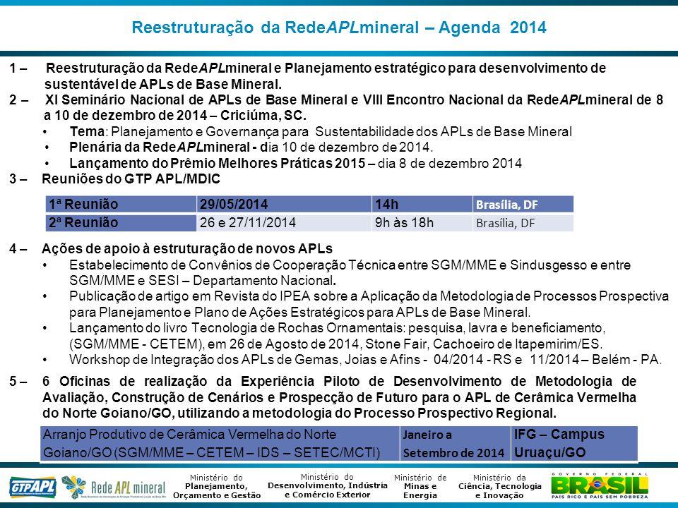 Ministério de Minas e Energia Ministério da Ciência, Tecnologia e Inovação Ministério do Desenvolvimento, Indústria e Comércio Exterior Ministério do Planejamento, Orçamento e Gestão Reestruturação da RedeAPLmineral – Agenda 2014 1 – Reestruturação da RedeAPLmineral e Planejamento estratégico para desenvolvimento de sustentável de APLs de Base Mineral.