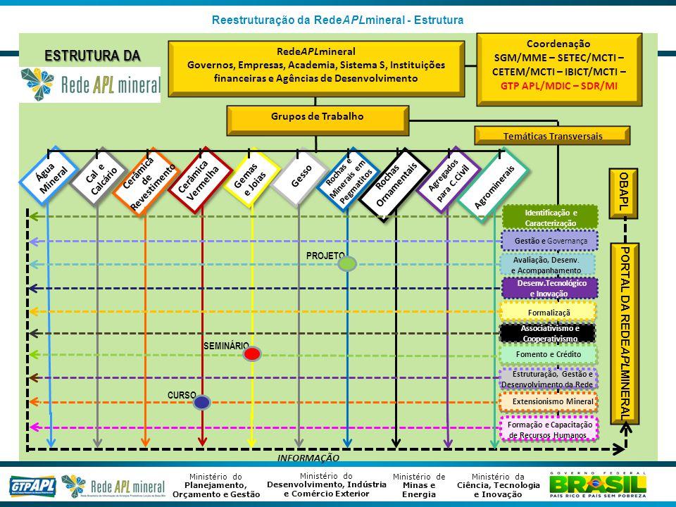 Ministério de Minas e Energia Ministério da Ciência, Tecnologia e Inovação Ministério do Desenvolvimento, Indústria e Comércio Exterior Ministério do Planejamento, Orçamento e Gestão Reestruturação da RedeAPLmineral - Estrutura RedeAPLmineral Governos, Empresas, Academia, Sistema S, Instituições financeiras e Agências de Desenvolvimento Cerâmica Vermelha Cerâmica de Revestimento Gemas e Joias Gesso Identificação e Caracterização Gestão e Governança Avaliação, Desenv.