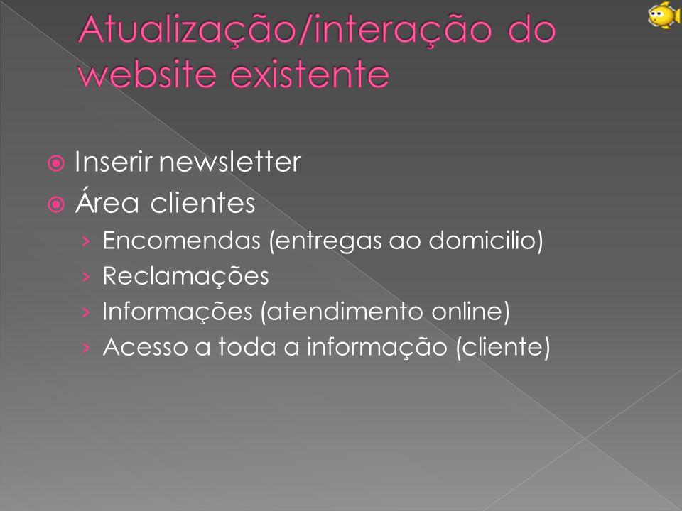  Inserir newsletter  Área clientes › Encomendas (entregas ao domicilio) › Reclamações › Informações (atendimento online) › Acesso a toda a informação (cliente)