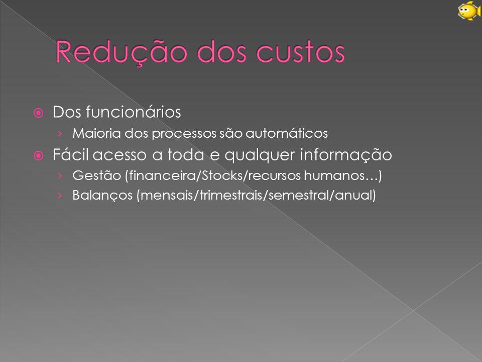  Dos funcionários › Maioria dos processos são automáticos  Fácil acesso a toda e qualquer informação › Gestão (financeira/Stocks/recursos humanos…) › Balanços (mensais/trimestrais/semestral/anual)