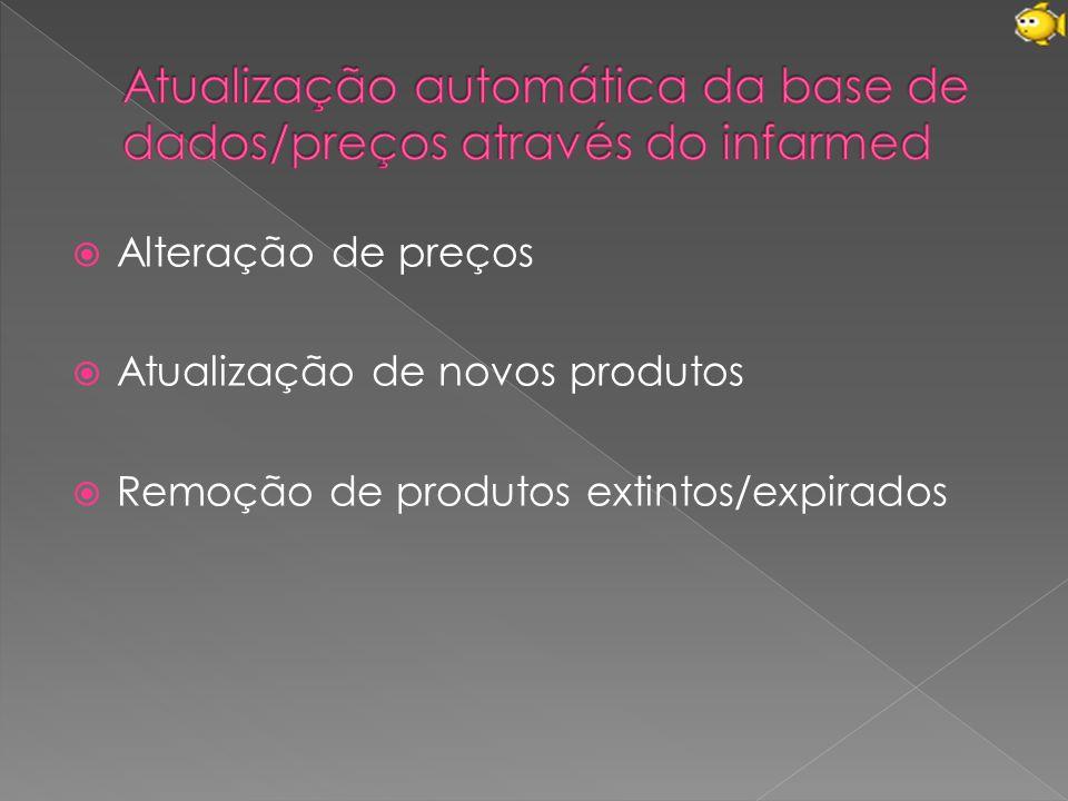  Alteração de preços  Atualização de novos produtos  Remoção de produtos extintos/expirados