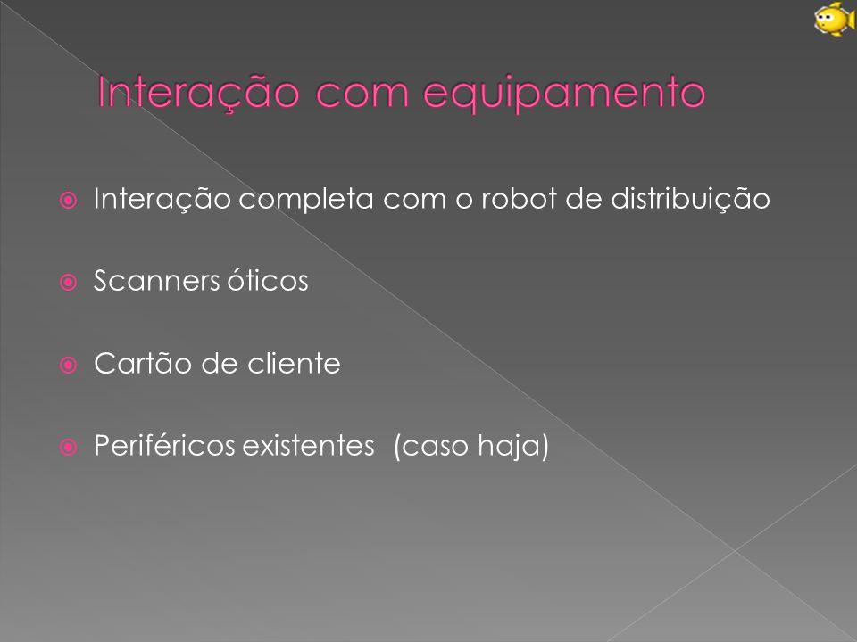  Interação completa com o robot de distribuição  Scanners óticos  Cartão de cliente  Periféricos existentes (caso haja)