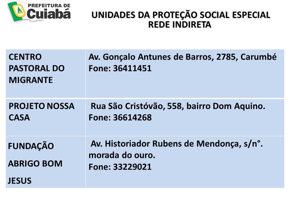 UNIDADES DA PROTEÇÃO SOCIAL ESPECIAL REDE INDIRETA UNIDADES DA PROTEÇÃO SOCIAL ESPECIAL REDE INDIRETA CENTRO PASTORAL DO MIGRANTE Av.
