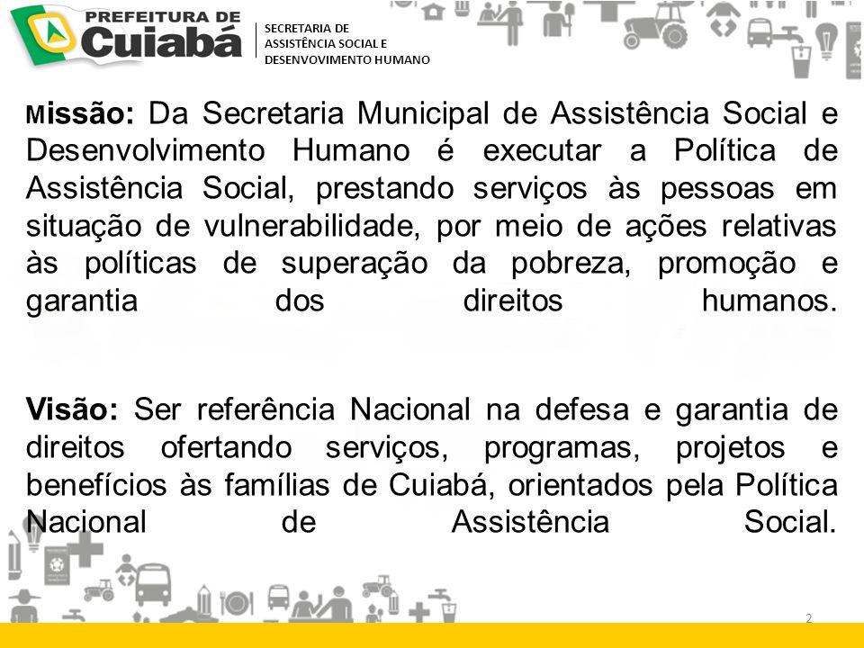 M issão: Da Secretaria Municipal de Assistência Social e Desenvolvimento Humano é executar a Política de Assistência Social, prestando serviços às pes