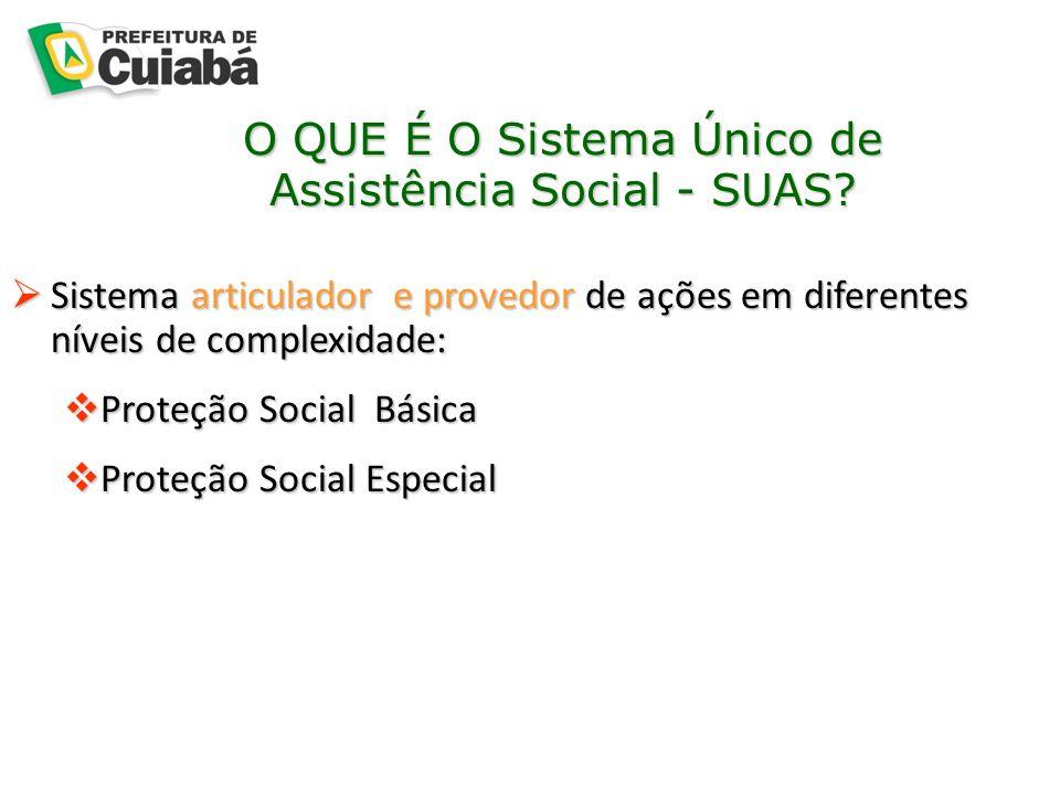 O QUE É O Sistema Único de Assistência Social - SUAS?  Sistema articulador e provedor de ações em diferentes níveis de complexidade:  Proteção Socia