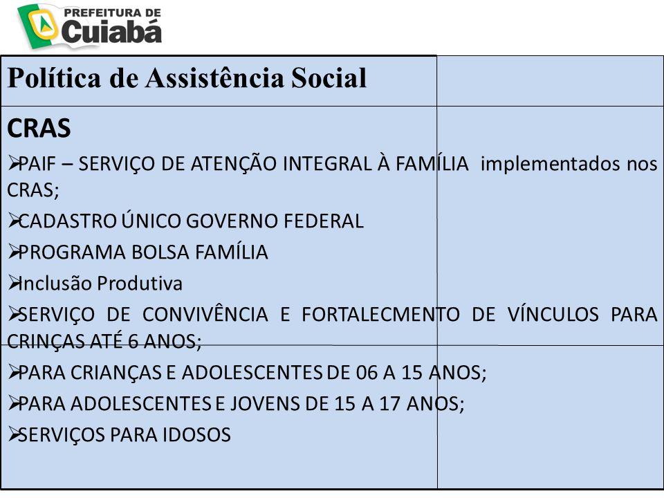 CRAS  PAIF – SERVIÇO DE ATENÇÃO INTEGRAL À FAMÍLIA implementados nos CRAS;  CADASTRO ÚNICO GOVERNO FEDERAL  PROGRAMA BOLSA FAMÍLIA  Inclusão Produtiva  SERVIÇO DE CONVIVÊNCIA E FORTALECMENTO DE VÍNCULOS PARA CRINÇAS ATÉ 6 ANOS;  PARA CRIANÇAS E ADOLESCENTES DE 06 A 15 ANOS;  PARA ADOLESCENTES E JOVENS DE 15 A 17 ANOS;  SERVIÇOS PARA IDOSOS Política de Assistência Social