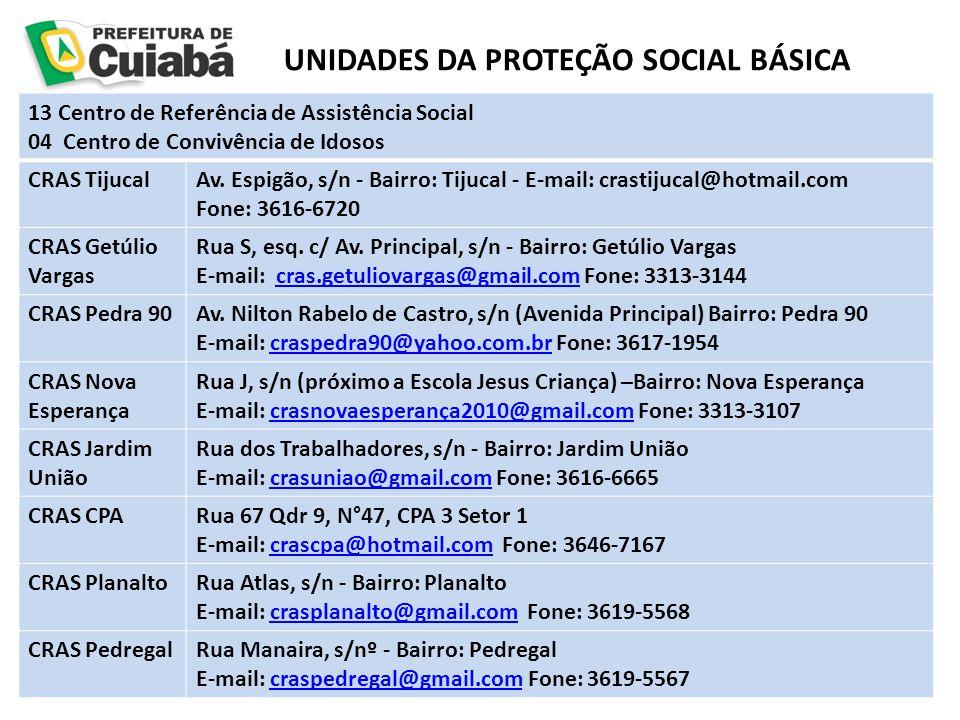 UNIDADES DA PROTEÇÃO SOCIAL BÁSICA 13 Centro de Referência de Assistência Social 04 Centro de Convivência de Idosos CRAS TijucalAv. Espigão, s/n - Bai