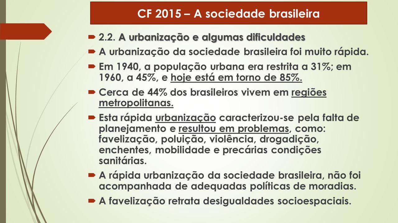 A urbanização e algumas dificuldades  2.2. A urbanização e algumas dificuldades  A urbanização da sociedade brasileira foi muito rápida.  Em 1940,