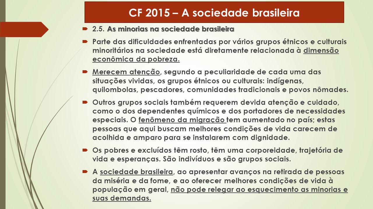 As minorias na sociedade brasileira  2.5. As minorias na sociedade brasileira  Parte das dificuldades enfrentadas por vários grupos étnicos e cultur