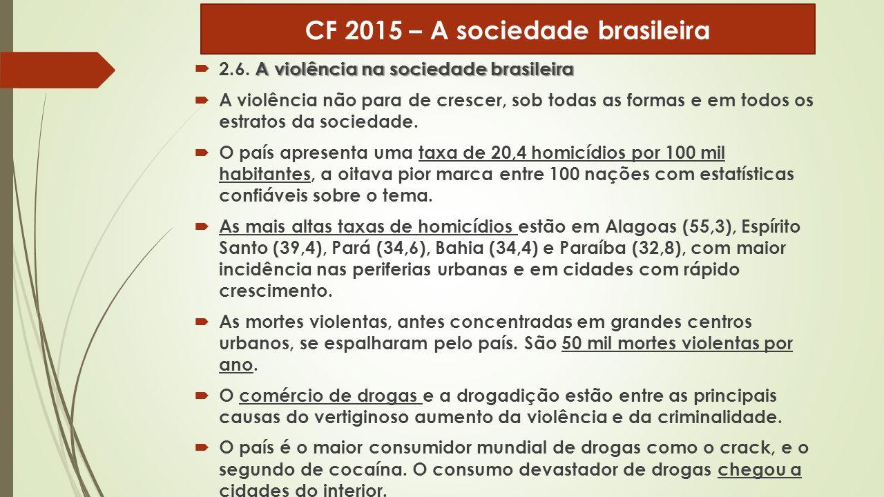 A violência na sociedade brasileira  2.6. A violência na sociedade brasileira  A violência não para de crescer, sob todas as formas e em todos os es