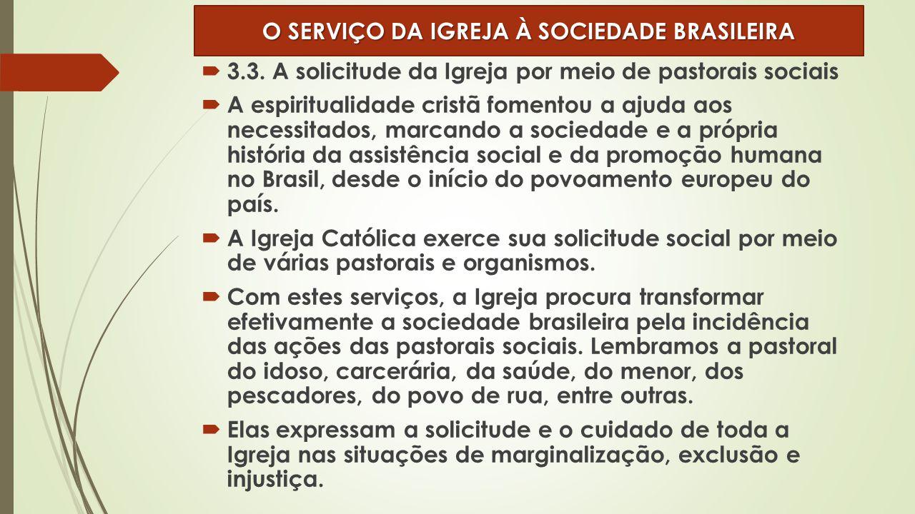  3.3. A solicitude da Igreja por meio de pastorais sociais  A espiritualidade cristã fomentou a ajuda aos necessitados, marcando a sociedade e a pró