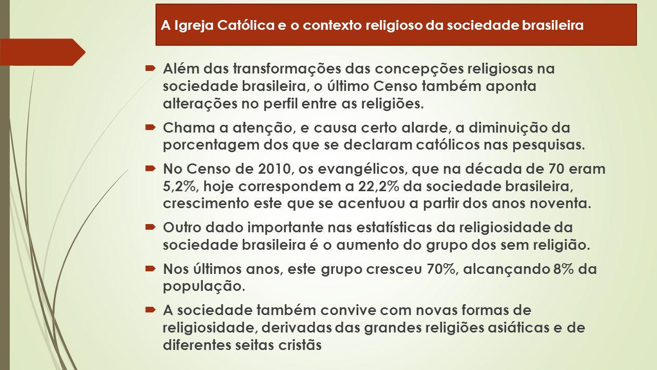  Além das transformações das concepções religiosas na sociedade brasileira, o último Censo também aponta alterações no perfil entre as religiões.  C