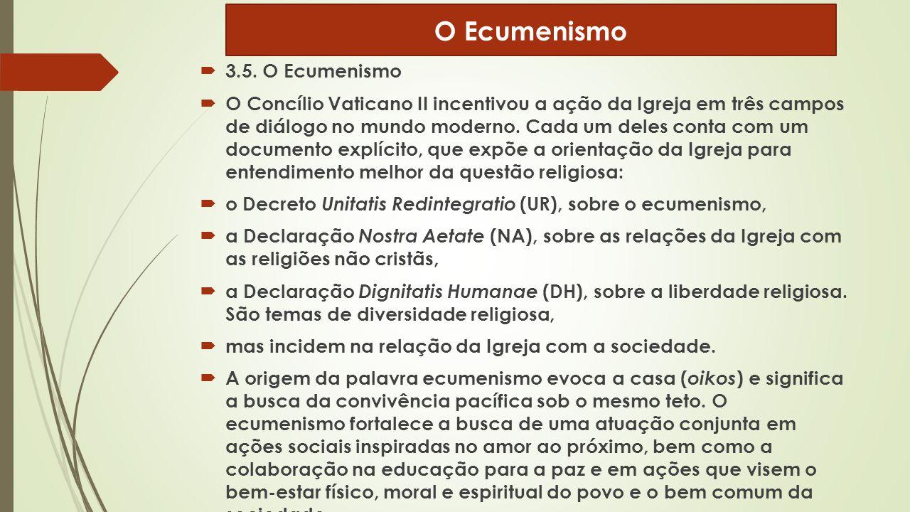  3.5. O Ecumenismo  O Concílio Vaticano II incentivou a ação da Igreja em três campos de diálogo no mundo moderno. Cada um deles conta com um docume