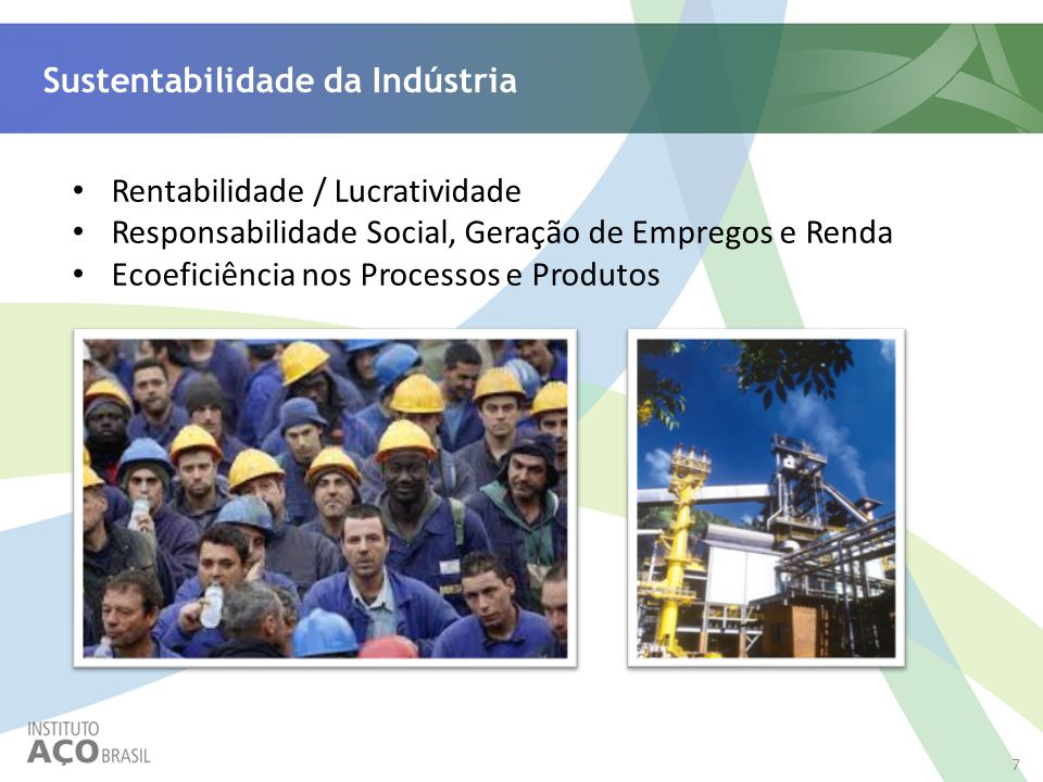 7 Sustentabilidade da Indústria Rentabilidade / Lucratividade Responsabilidade Social, Geração de Empregos e Renda Ecoeficiência nos Processos e Produ