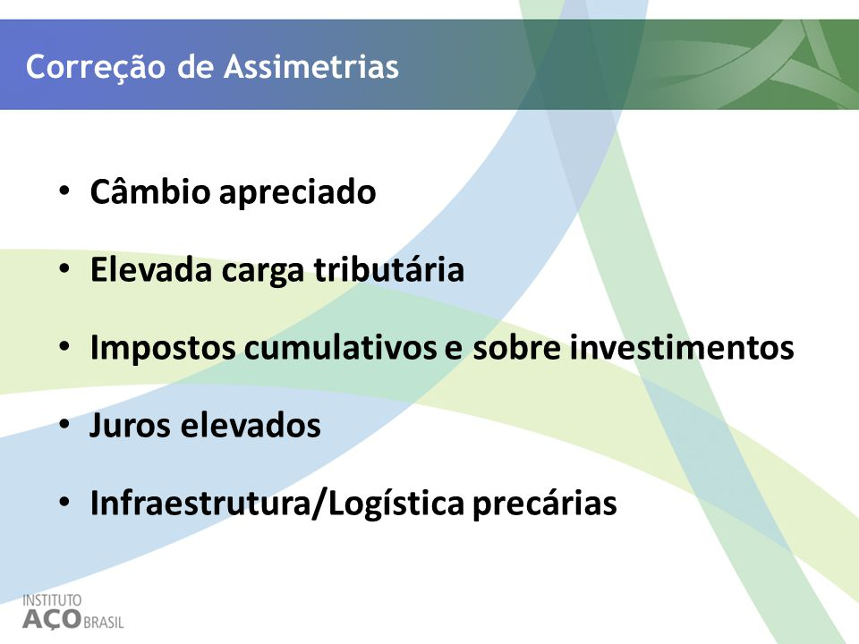 Correção de Assimetrias Câmbio apreciado Elevada carga tributária Impostos cumulativos e sobre investimentos Juros elevados Infraestrutura/Logística p