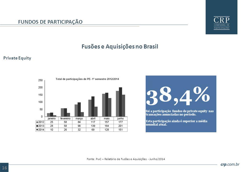 Fusões e Aquisições no Brasil FUNDOS DE PARTICIPAÇÃO Fonte: PwC – Relatório de Fusões e Aquisições - Junho/2014 Private Equity 16