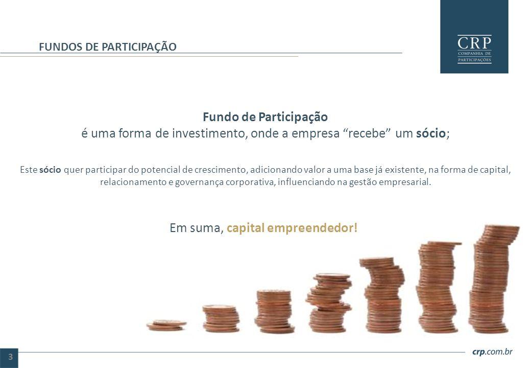 """Fundo de Participação é uma forma de investimento, onde a empresa """"recebe"""" um sócio; Este sócio quer participar do potencial de crescimento, adicionan"""
