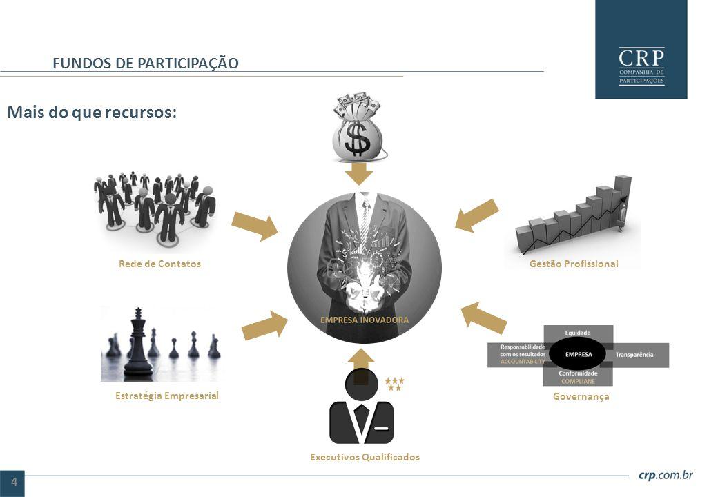 Mais do que recursos: FUNDOS DE PARTICIPAÇÃO 4 Estratégia Empresarial Rede de Contatos Executivos Qualificados Gestão Profissional Governança