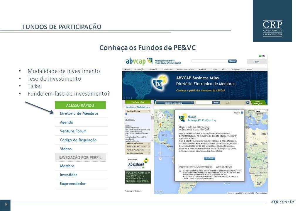 Conheça os Fundos de PE&VC FUNDOS DE PARTICIPAÇÃO 8 Modalidade de investimento Tese de investimento Ticket Fundo em fase de investimento?