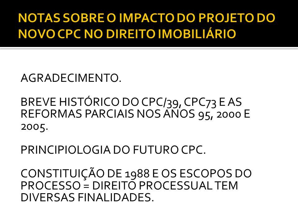 AGRADECIMENTO.BREVE HISTÓRICO DO CPC/39, CPC73 E AS REFORMAS PARCIAIS NOS ANOS 95, 2000 E 2005.
