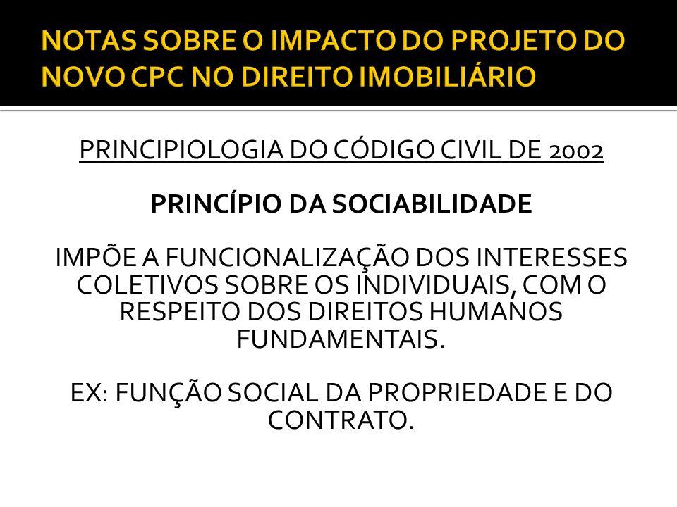 PRINCIPIOLOGIA DO CÓDIGO CIVIL DE 2002 PRINCÍPIO DA SOCIABILIDADE IMPÕE A FUNCIONALIZAÇÃO DOS INTERESSES COLETIVOS SOBRE OS INDIVIDUAIS, COM O RESPEITO DOS DIREITOS HUMANOS FUNDAMENTAIS.