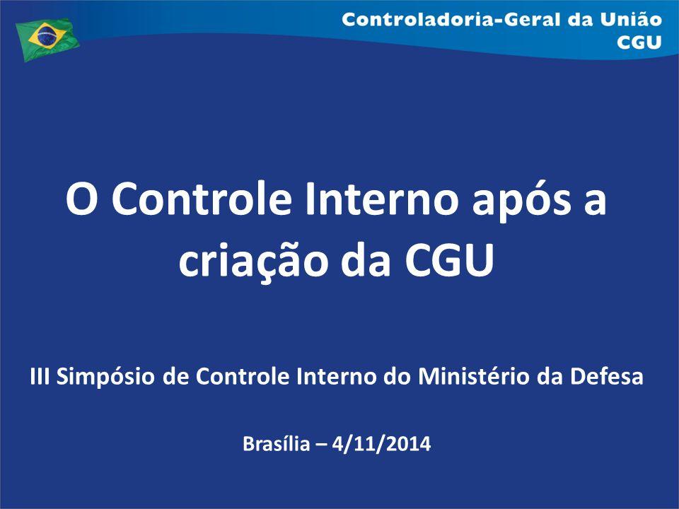 O Controle Interno após a criação da CGU III Simpósio de Controle Interno do Ministério da Defesa Brasília – 4/11/2014