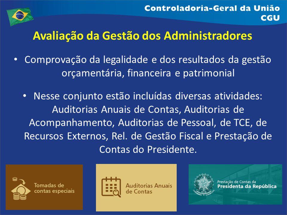 Avaliação da Gestão dos Administradores Comprovação da legalidade e dos resultados da gestão orçamentária, financeira e patrimonial Nesse conjunto est