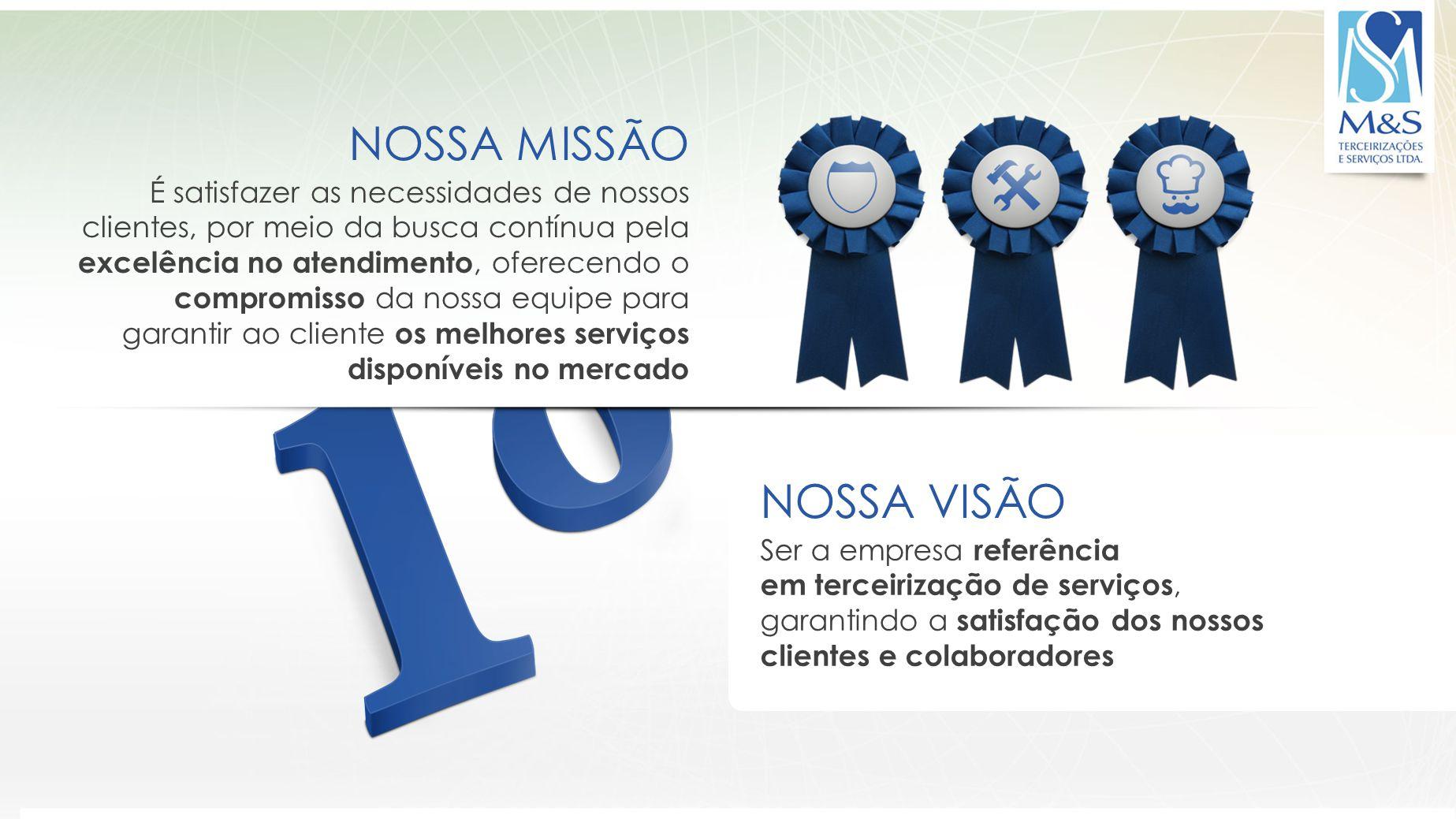 A QUALIDADE E A DEDICAÇÃO GERAM RESULTADOS A M&S é certificada pelo ISO 9001, norma internacional baseada em oito princípios de gestão da qualidade Resultados Abordagem de processos Abordagem sistêmica Foco no Cliente Melhoria Contínua Abordagem factual Envolvimento de pessoas Liderança Relacionamento mutuamente benéfico com fornecedores