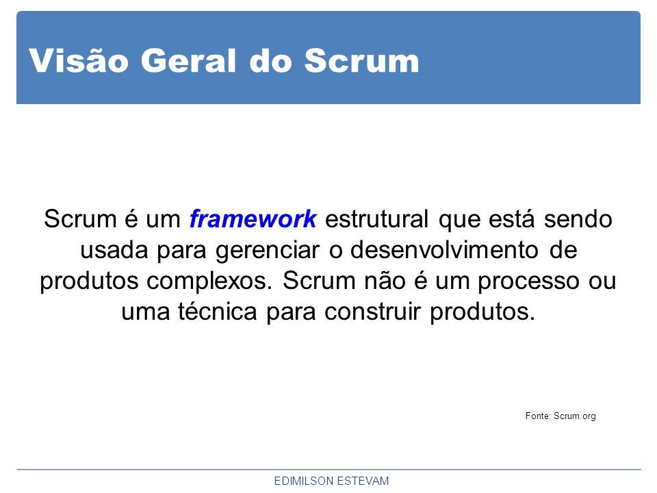 Visão Geral do Scrum Scrum é um framework estrutural que está sendo usada para gerenciar o desenvolvimento de produtos complexos. Scrum não é um proce