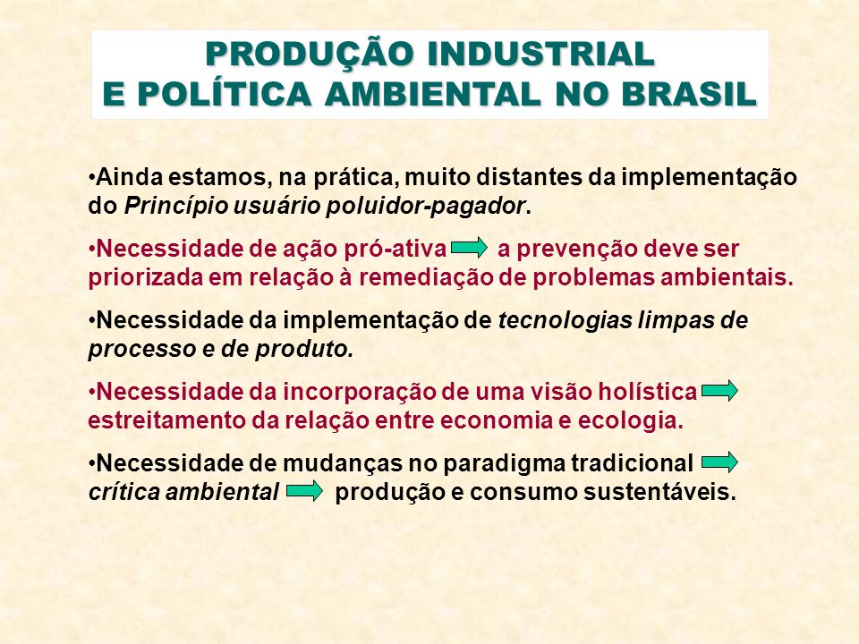 PRODUÇÃO INDUSTRIAL E POLÍTICA AMBIENTAL NO BRASIL Ainda estamos, na prática, muito distantes da implementação do Princípio usuário poluidor-pagador.