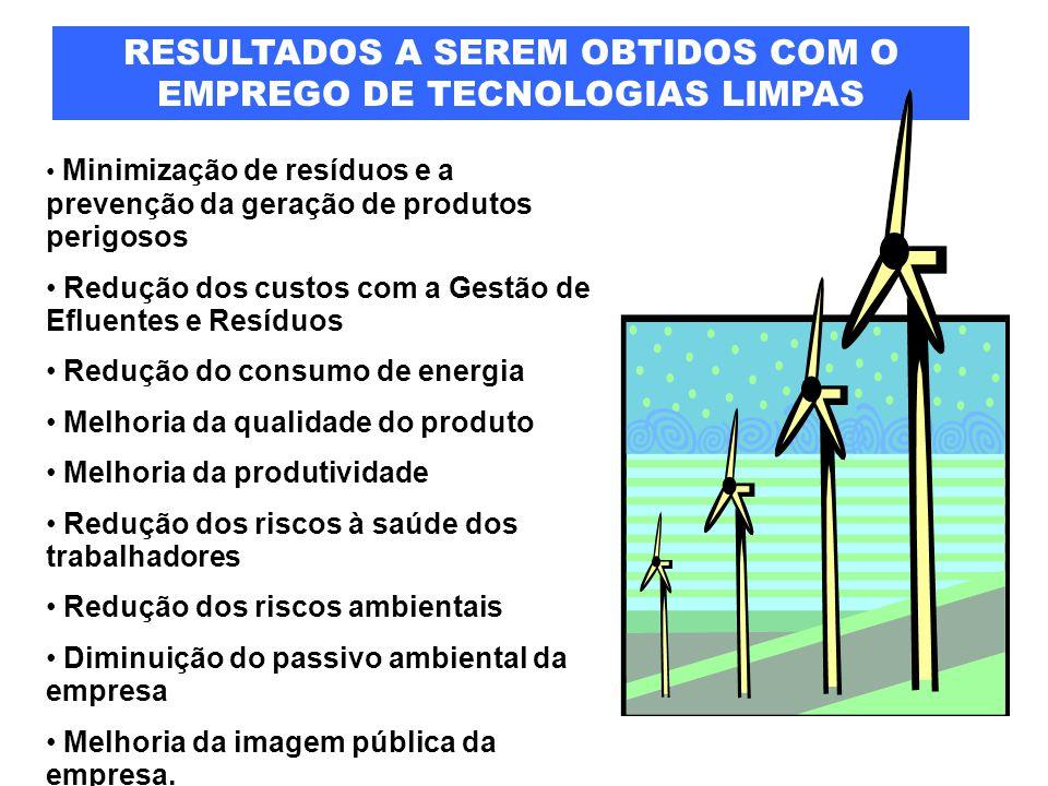 RESULTADOS A SEREM OBTIDOS COM O EMPREGO DE TECNOLOGIAS LIMPAS Minimização de resíduos e a prevenção da geração de produtos perigosos Redução dos cust