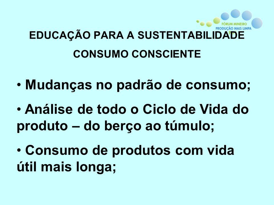 EDUCAÇÃO PARA A SUSTENTABILIDADE CONSUMO CONSCIENTE Mudanças no padrão de consumo; Análise de todo o Ciclo de Vida do produto – do berço ao túmulo; Co