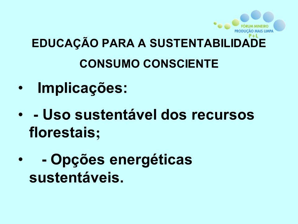 EDUCAÇÃO PARA A SUSTENTABILIDADE CONSUMO CONSCIENTE Implicações: - Uso sustentável dos recursos florestais ; - Opções energéticas sustentáveis.