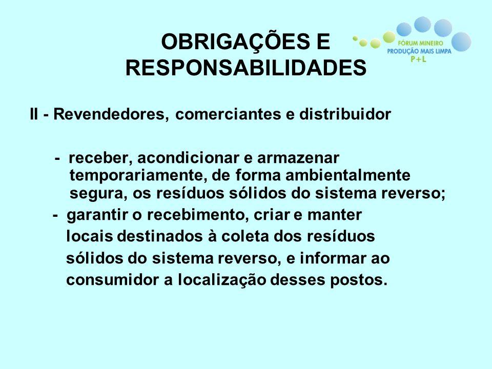 OBRIGAÇÕES E RESPONSABILIDADES II - Revendedores, comerciantes e distribuidor - receber, acondicionar e armazenar temporariamente, de forma ambientalm