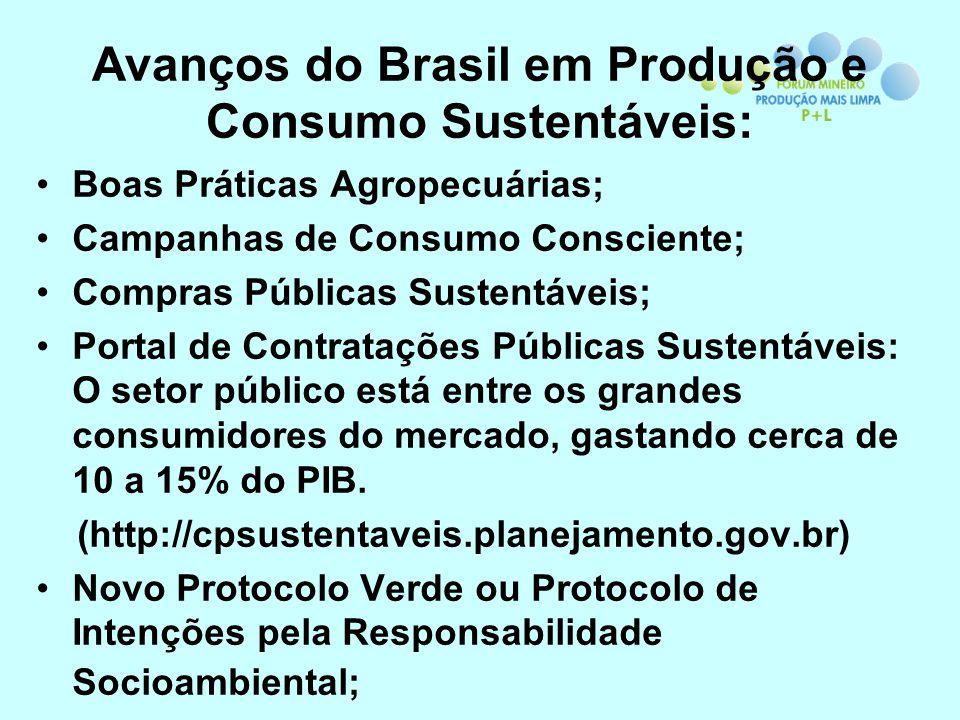 Avanços do Brasil em Produção e Consumo Sustentáveis: Boas Práticas Agropecuárias; Campanhas de Consumo Consciente; Compras Públicas Sustentáveis; Por
