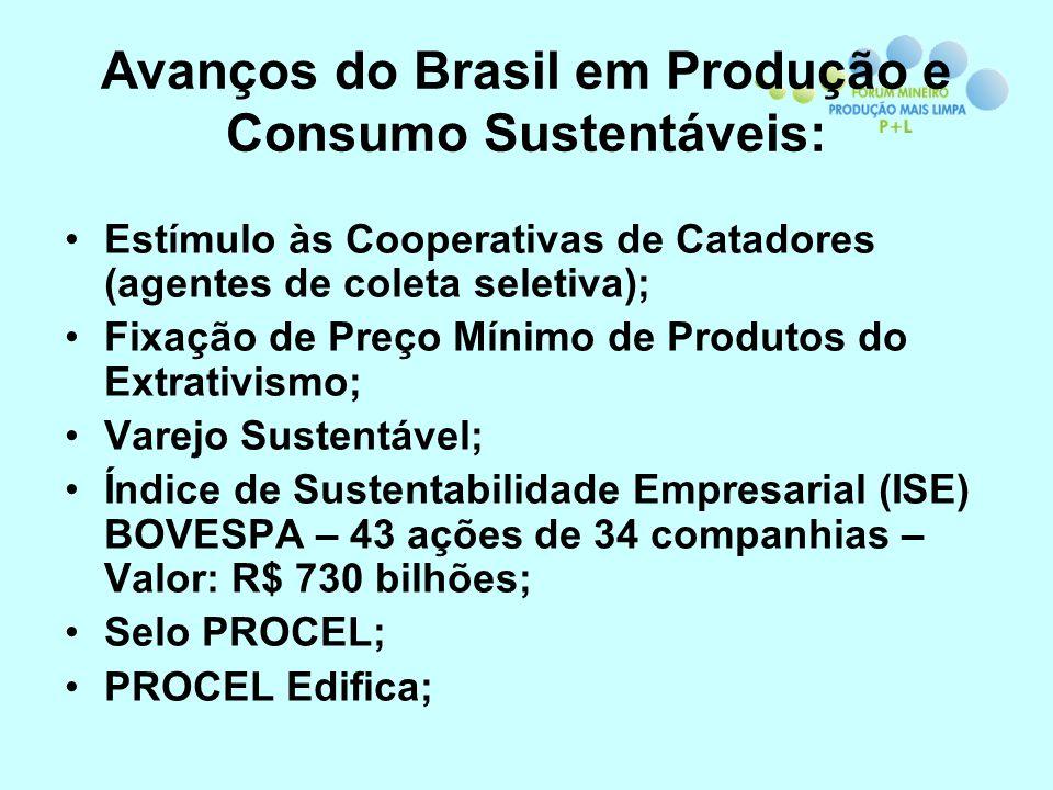 Avanços do Brasil em Produção e Consumo Sustentáveis: Estímulo às Cooperativas de Catadores (agentes de coleta seletiva); Fixação de Preço Mínimo de P